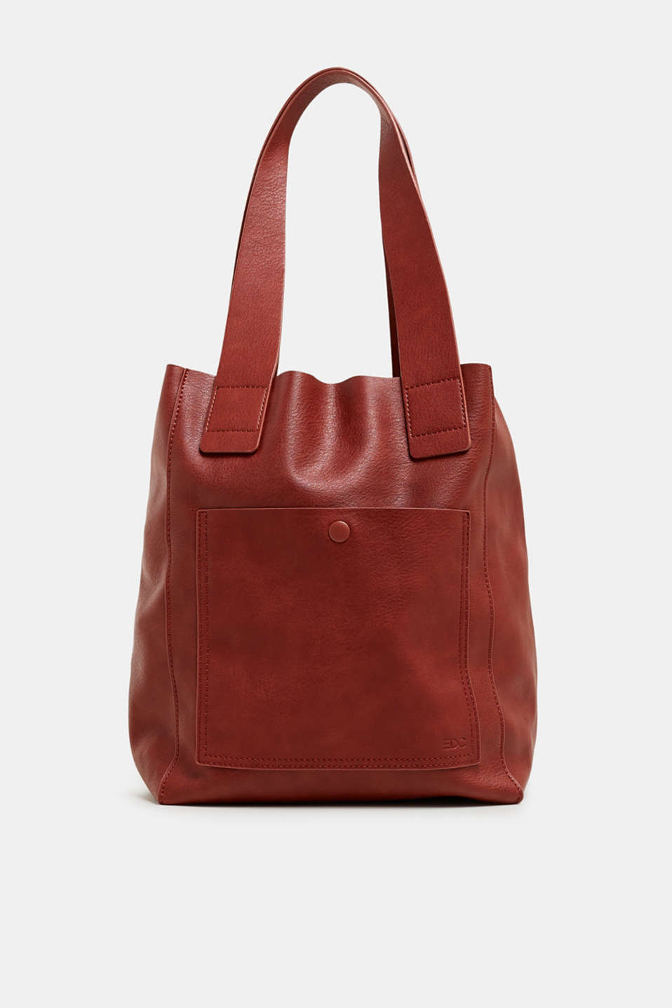 Faux leather tote bag, RUST BROWN, detail image number 0