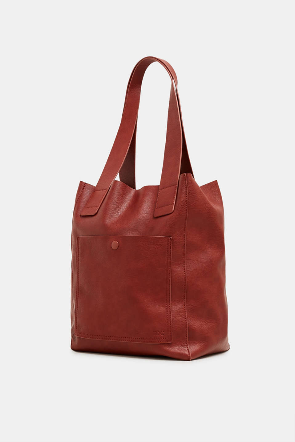 Faux leather tote bag, RUST BROWN, detail image number 2