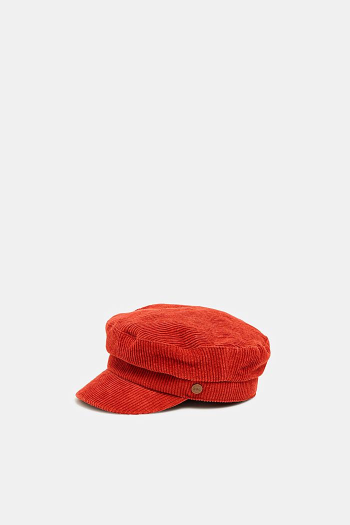 Corduroy sailor's cap, RUST ORANGE, detail image number 0