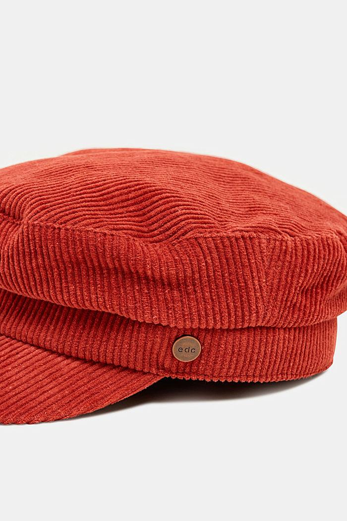 Corduroy sailor's cap, RUST ORANGE, detail image number 1