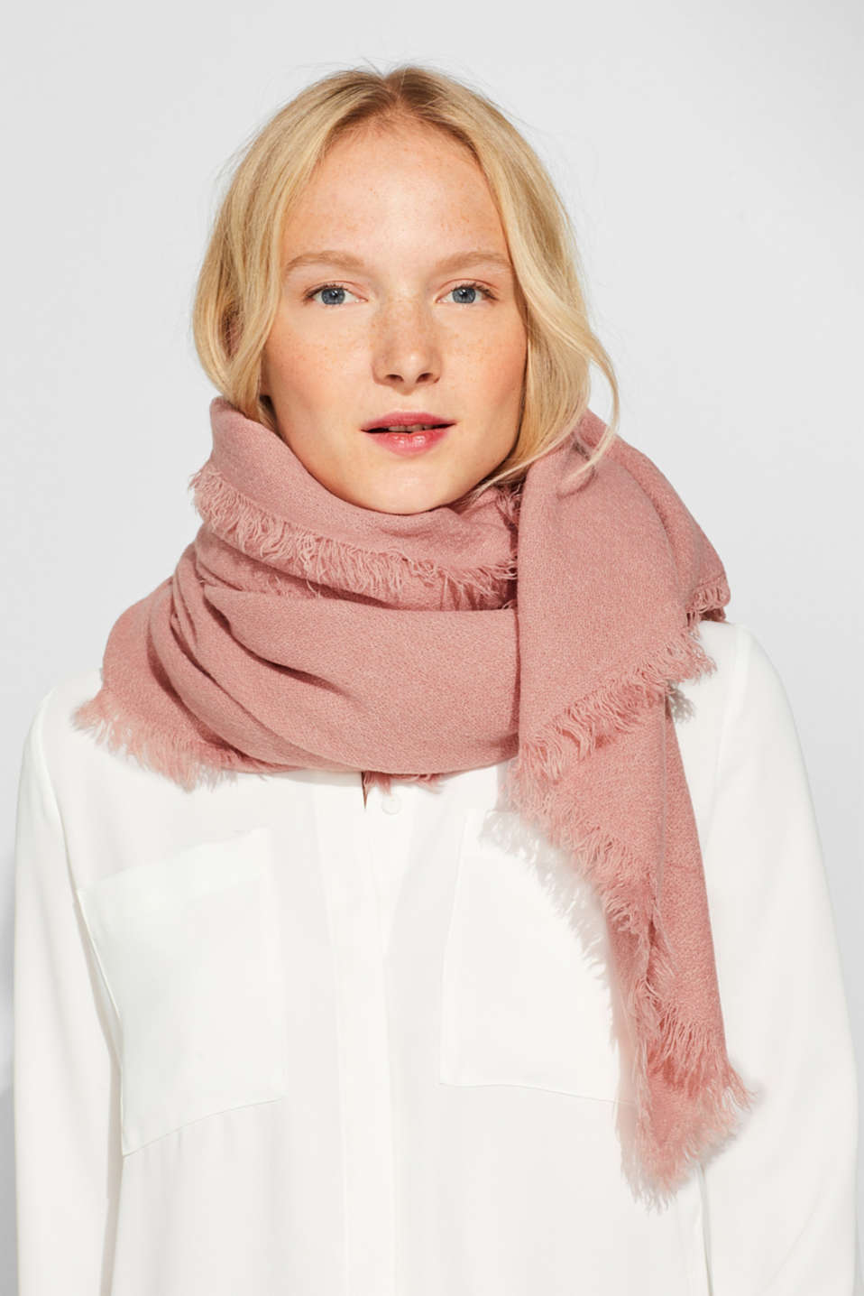Wool-effect woven scarf, BLUSH, detail image number 1