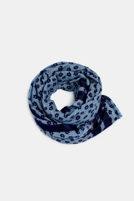 Scarf with a floral print in blended cotton, NAVY, detail