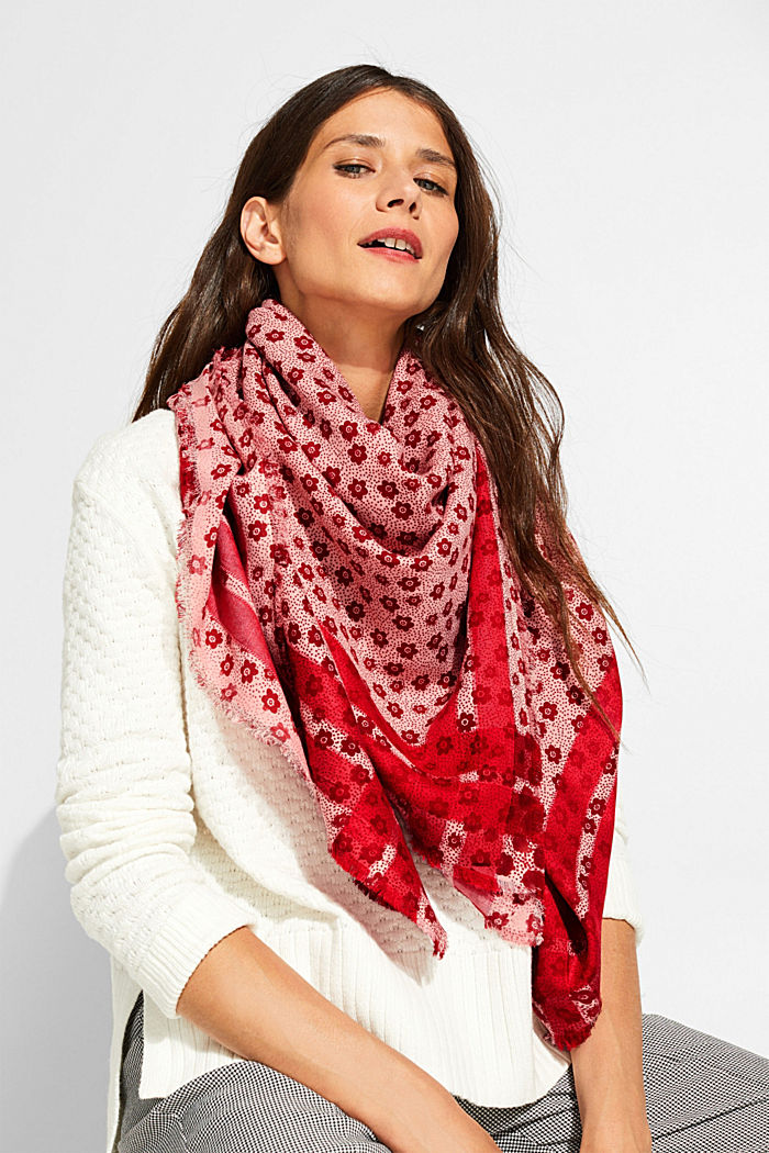 Scarf with a floral print in blended cotton, BLUSH, detail image number 1