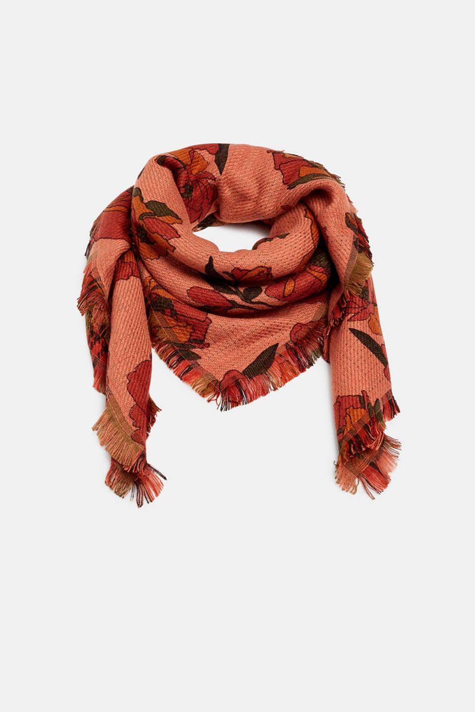Floral wool-effect scarf, BLUSH, detail image number 0