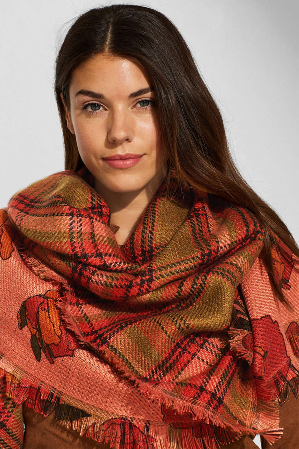 Floral wool-effect scarf, BLUSH, detail image number 1
