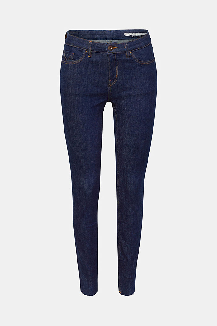 Stretch jeans with unfinished hems, BLUE RINSE, detail image number 0