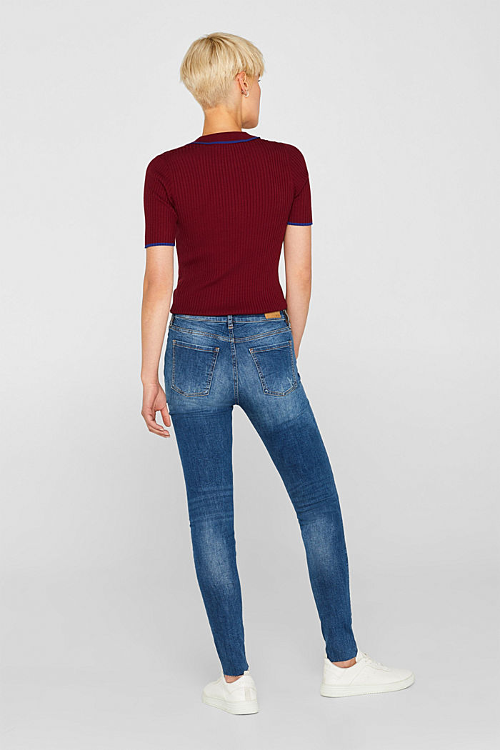 Stretch jeans with unfinished hems, BLUE MEDIUM WASHED, detail image number 3