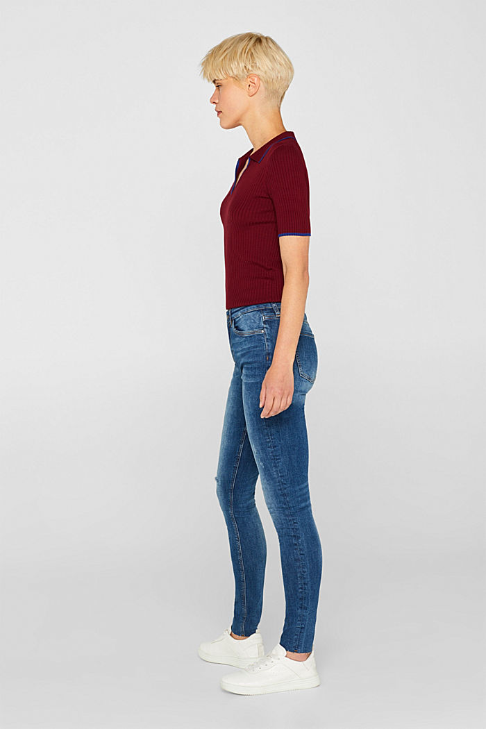 Stretch jeans with unfinished hems, BLUE MEDIUM WASHED, detail image number 1