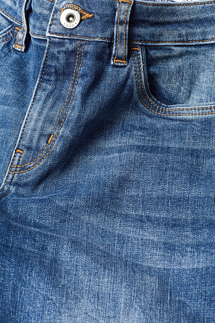 Stretch jeans with unfinished hems, BLUE MEDIUM WASHED, detail image number 4