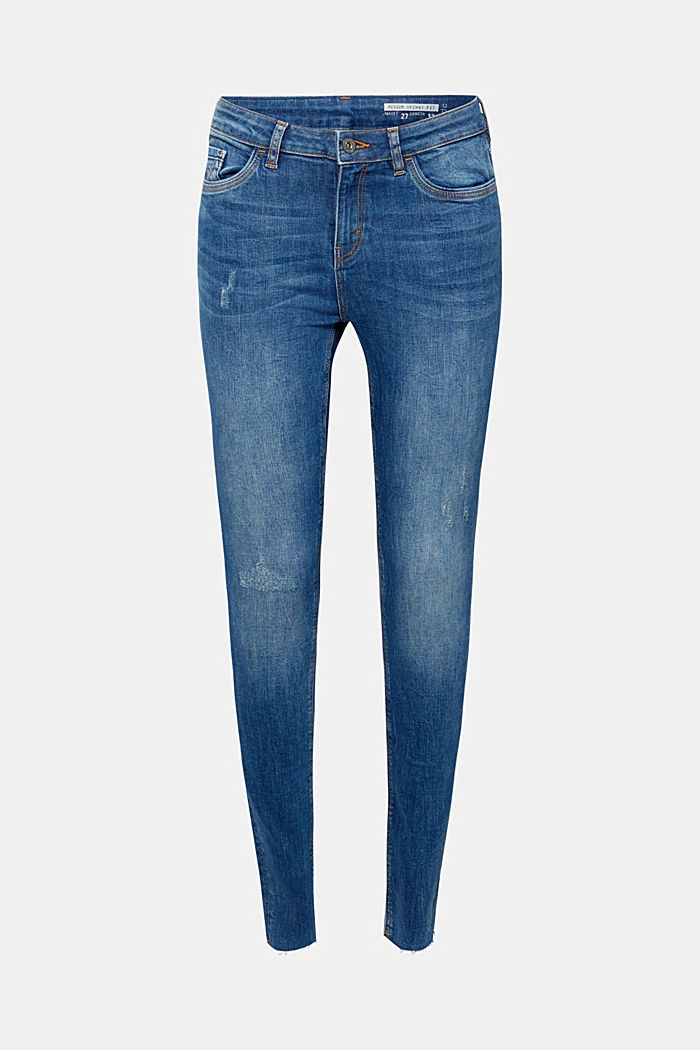 Stretch jeans with unfinished hems, BLUE MEDIUM WASHED, detail image number 6