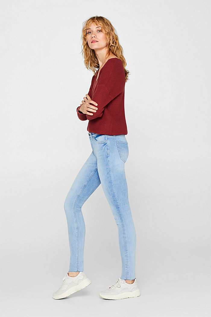 Stretch jeans with unfinished hems, BLUE LIGHT WASHED, detail image number 0