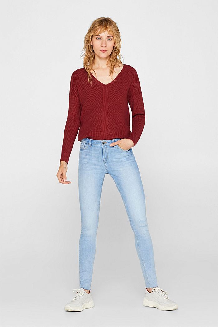 Stretch jeans with unfinished hems, BLUE LIGHT WASHED, detail image number 1