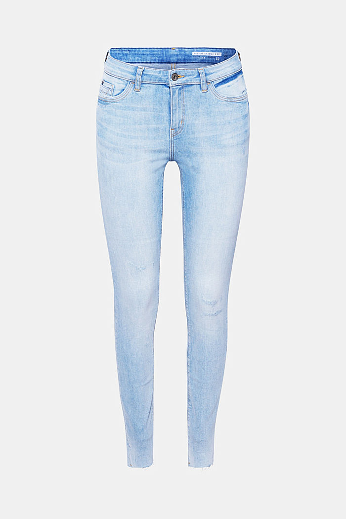 Stretch jeans with unfinished hems, BLUE LIGHT WASHED, detail image number 7