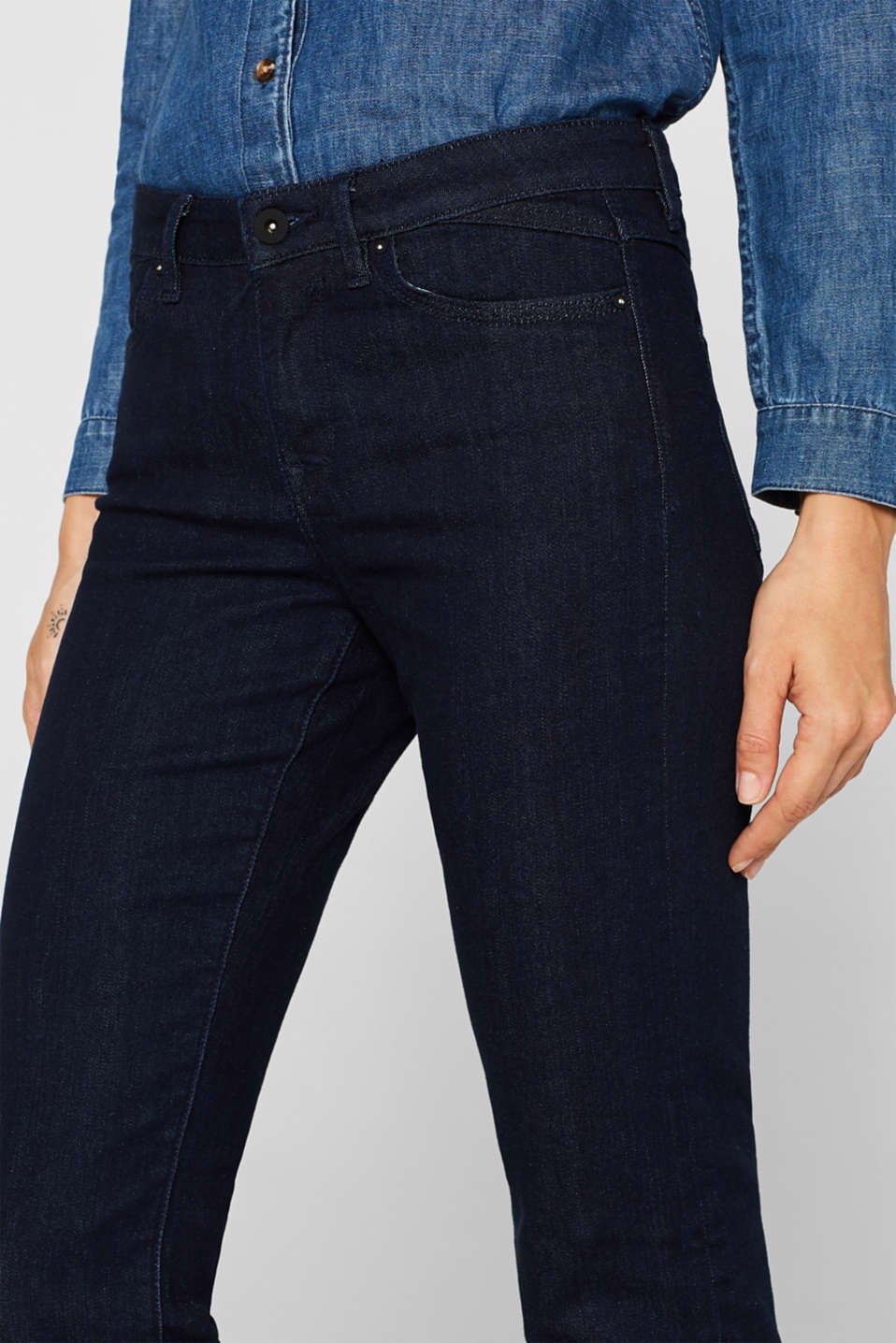 Trend wash stretch jeans, BLUE RINSE, detail image number 2
