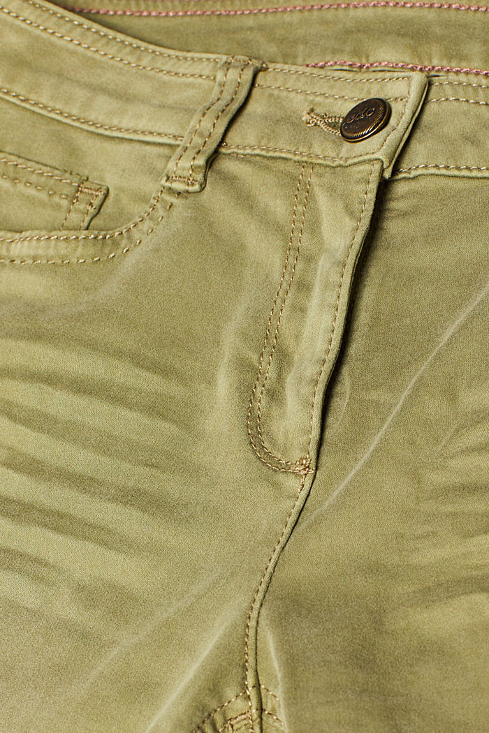 Trousers made of premium satin, KHAKI GREEN, detail image number 4
