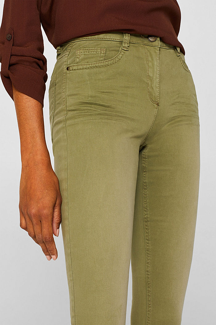 Trousers made of premium satin, KHAKI GREEN, detail image number 5