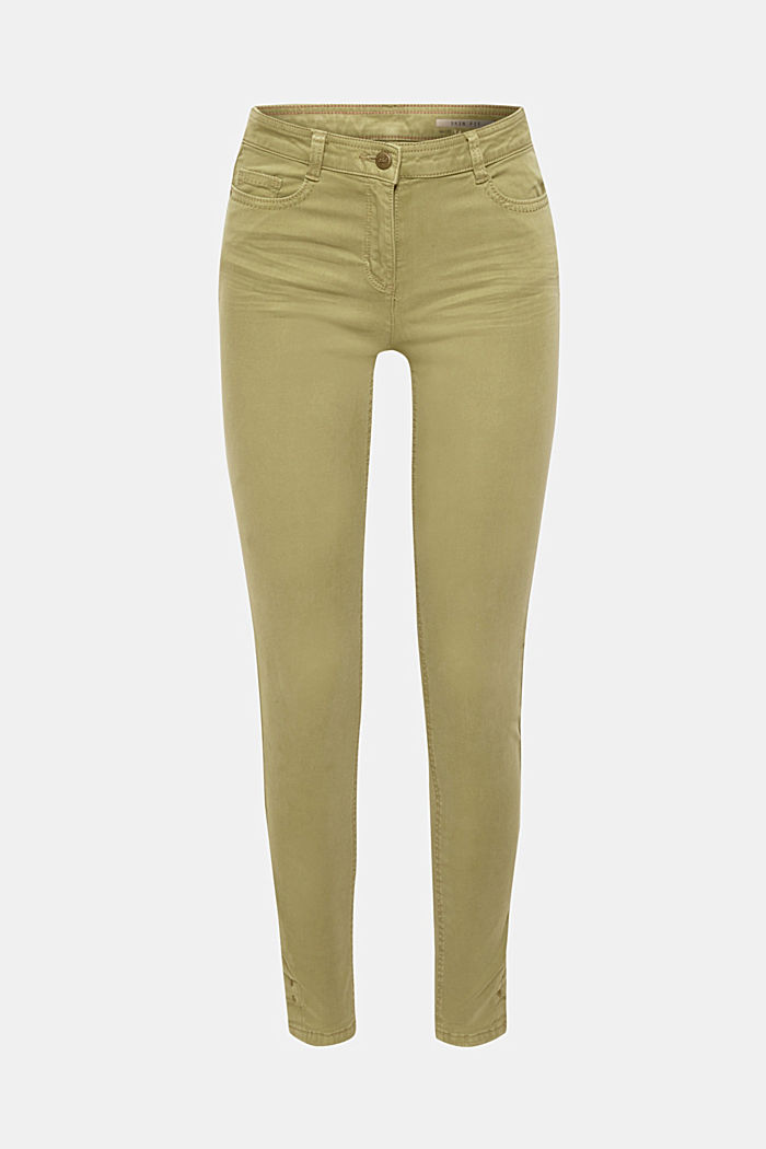 Trousers made of premium satin, KHAKI GREEN, detail image number 7