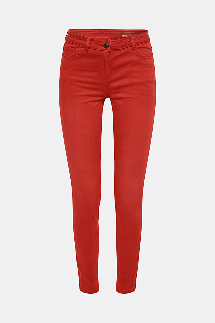 Trousers made of premium satin, TERRACOTTA, detail image number 0