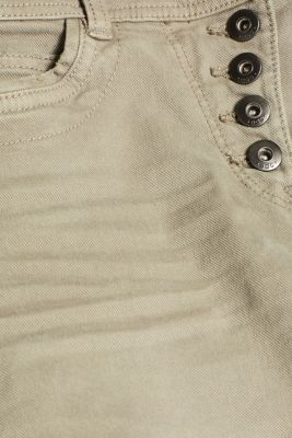 Stretch trousers with a button placket