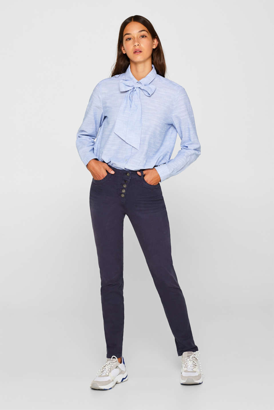 edc - Stretch trousers with a button placket