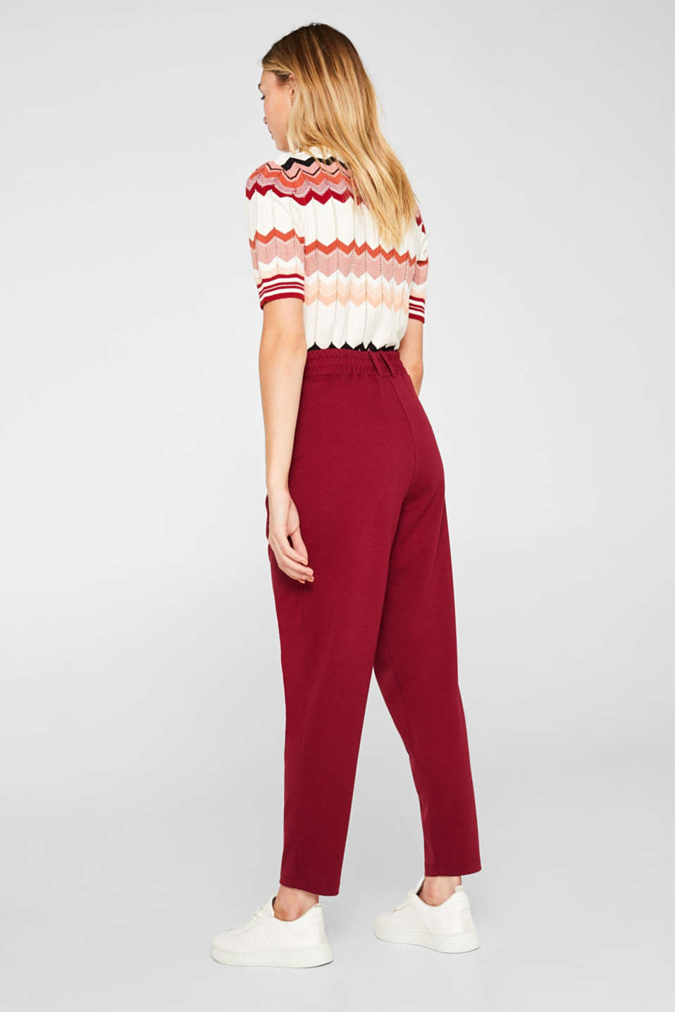 Pants knitted, GARNET RED, detail image number 3