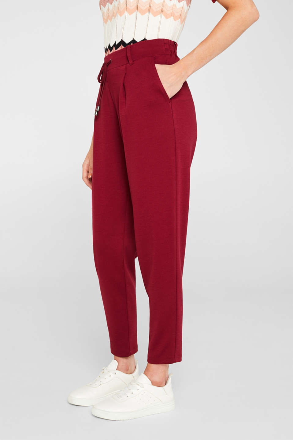 Pants knitted, GARNET RED, detail image number 5