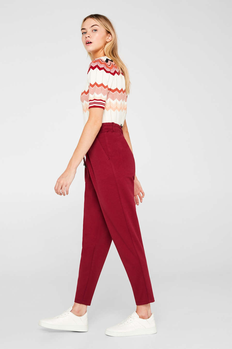 Pants knitted, GARNET RED, detail image number 1