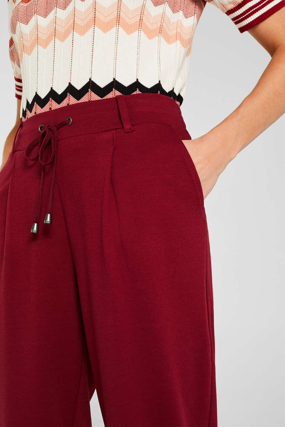 Pants knitted, GARNET RED, detail image number 2