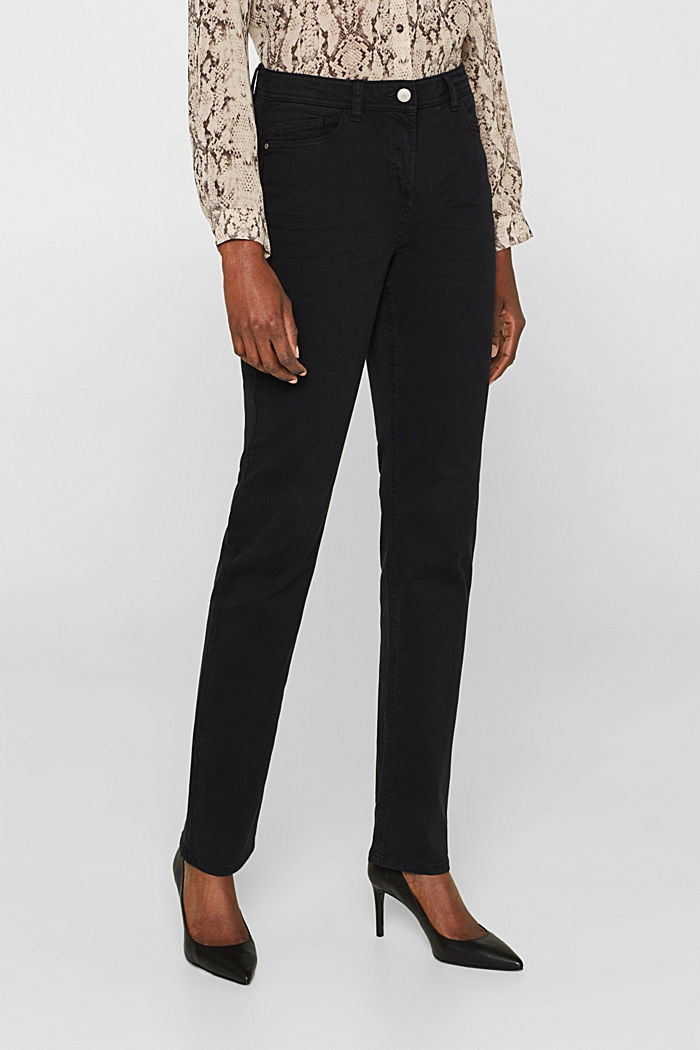 Super stretch trousers with a straight leg, BLACK, detail image number 6