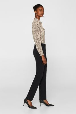 Super stretch trousers with a straight leg, BLACK, detail