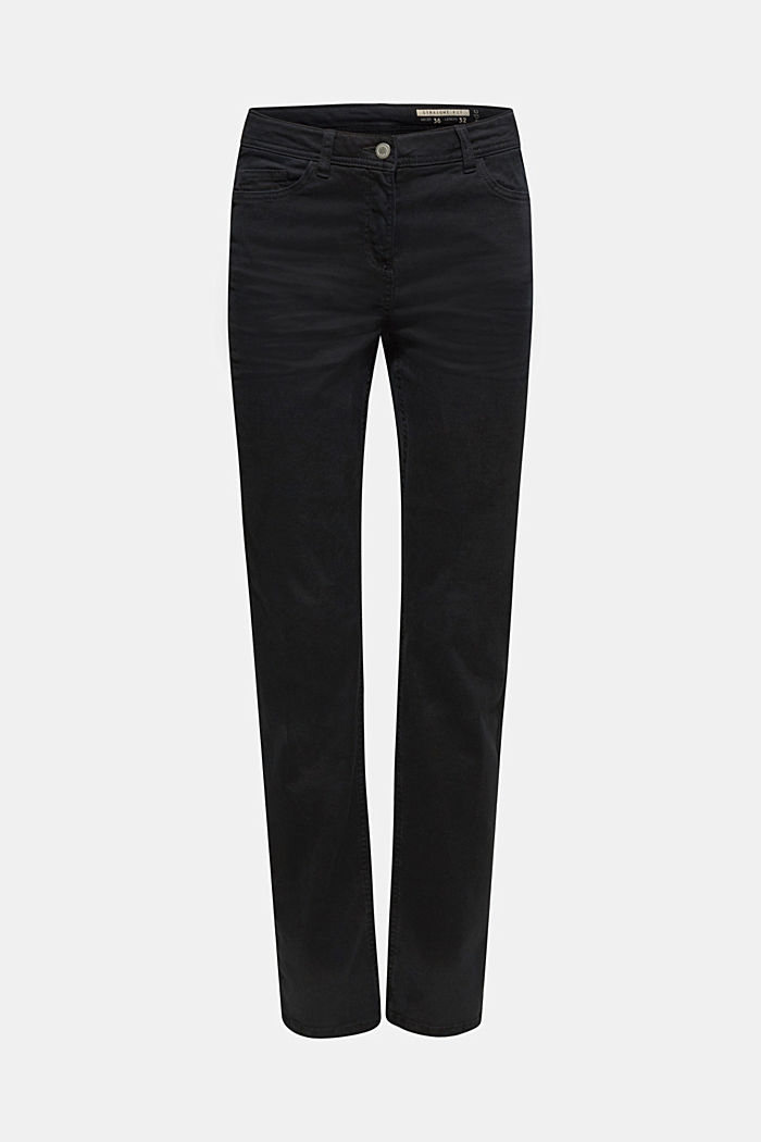 Super stretch trousers with a straight leg, BLACK, detail image number 0