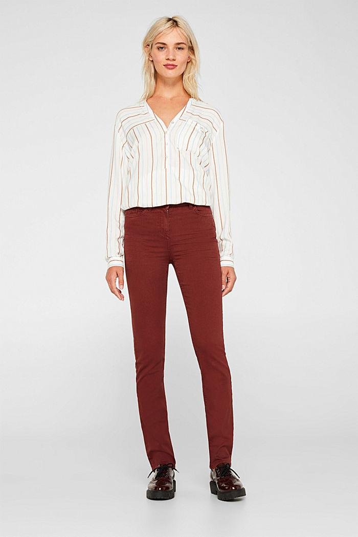 Super stretch trousers with a straight leg, RUST BROWN, detail image number 0