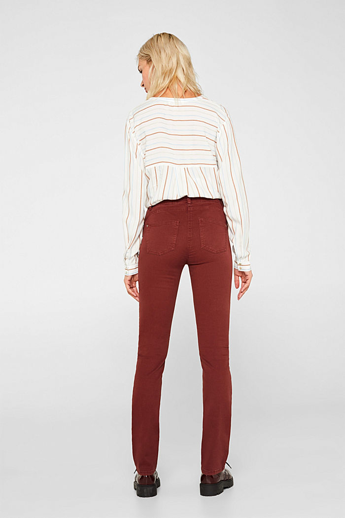 Super stretch trousers with a straight leg, RUST BROWN, detail image number 3