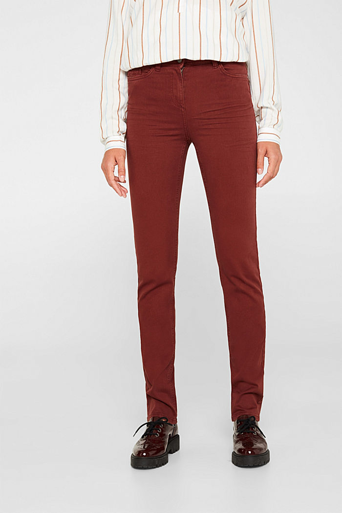 Super stretch trousers with a straight leg, RUST BROWN, detail image number 6