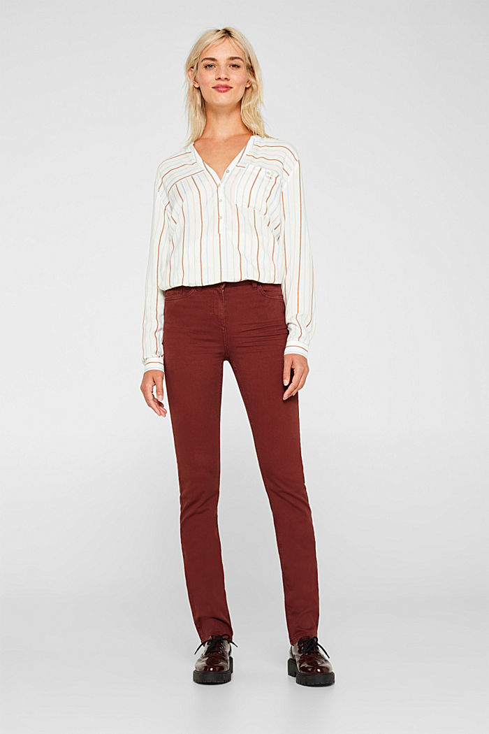 Super stretch trousers with a straight leg, RUST BROWN, detail image number 1