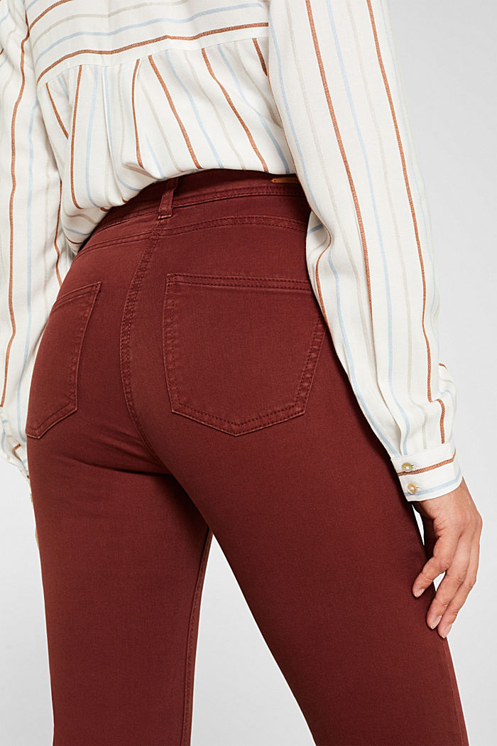 Super stretch trousers with a straight leg, RUST BROWN, detail image number 5