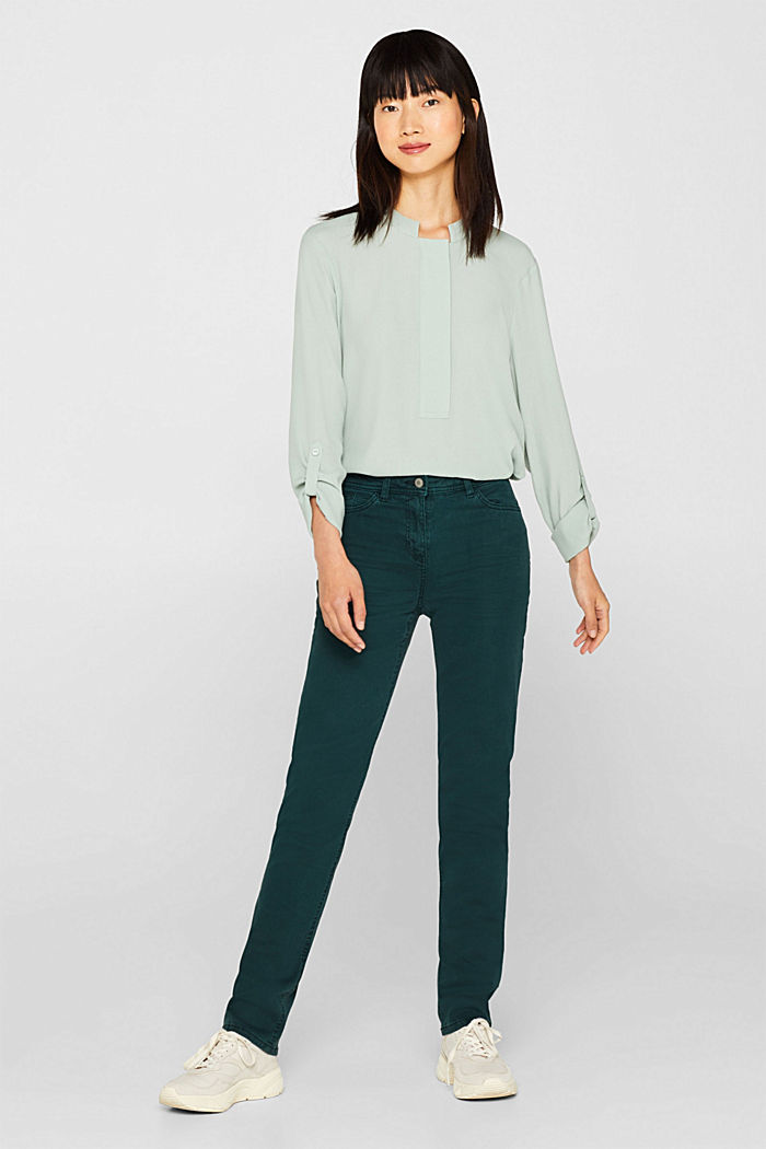 Super stretch trousers with a straight leg, DARK TEAL GREEN, detail image number 0