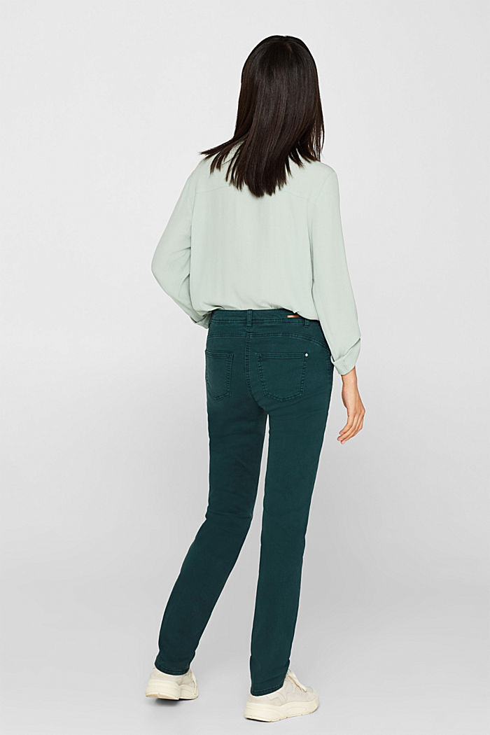 Super stretch trousers with a straight leg, DARK TEAL GREEN, detail image number 3