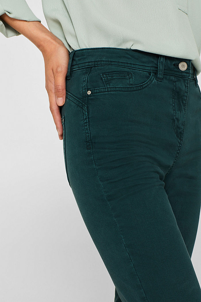 Super stretch trousers with a straight leg, DARK TEAL GREEN, detail image number 2