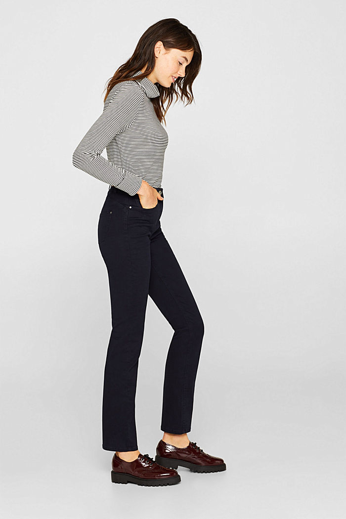 Super stretch trousers with a straight leg, NAVY, overview