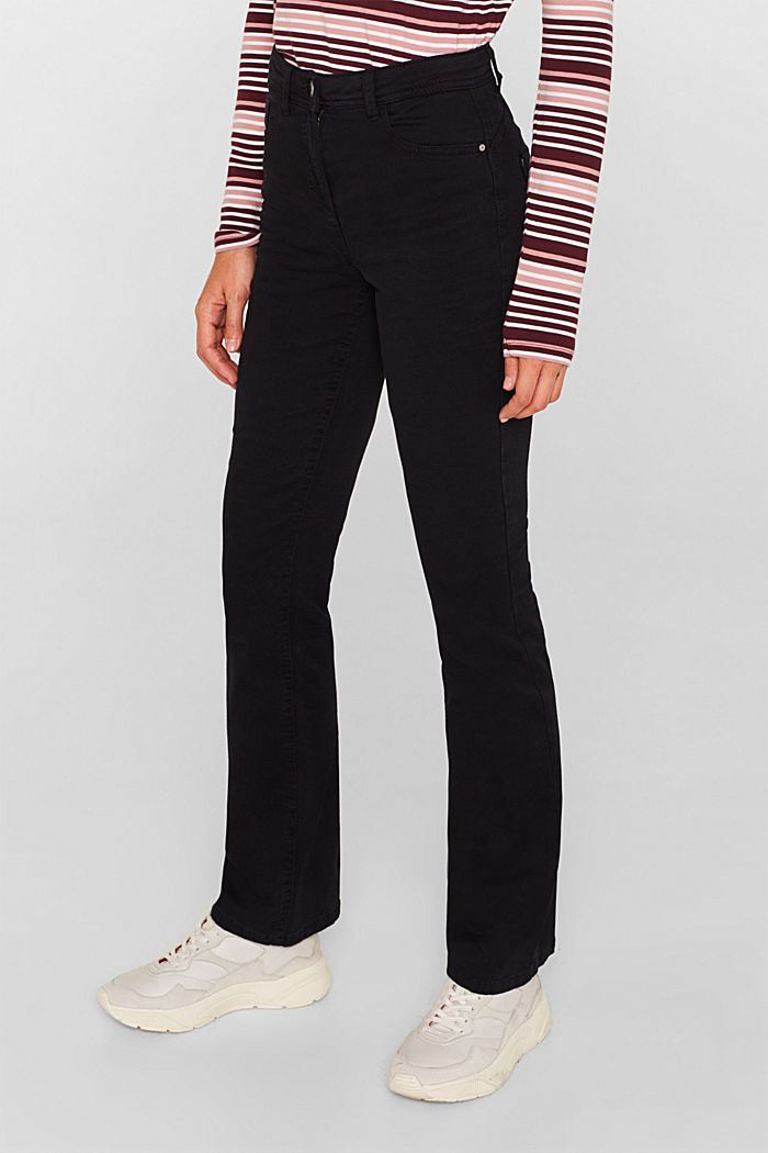 Super stretch trousers with a boot cut, BLACK, detail image number 7