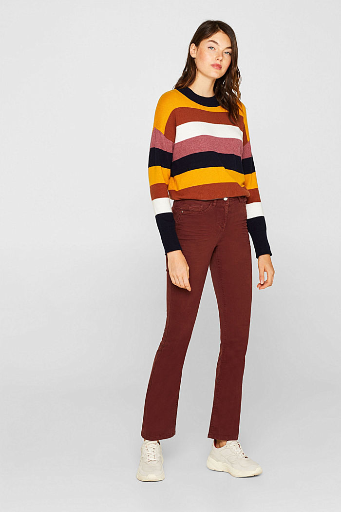 Super stretch trousers with a boot cut, RUST BROWN, detail image number 0