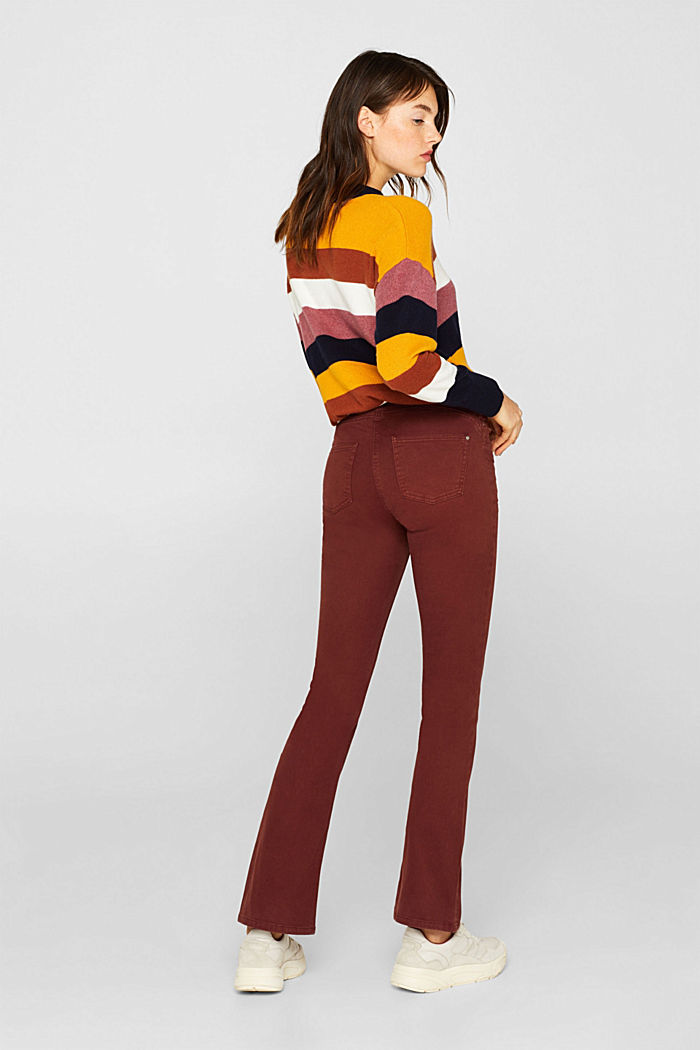 Super stretch trousers with a boot cut, RUST BROWN, detail image number 3