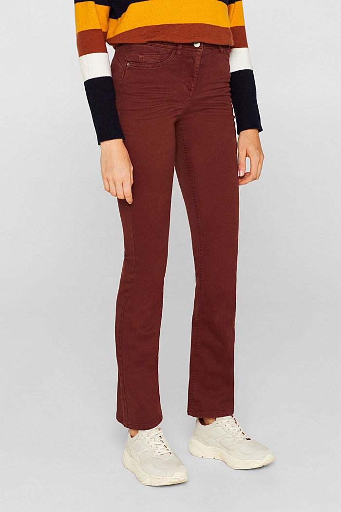 Super stretch trousers with a boot cut, RUST BROWN, detail image number 6