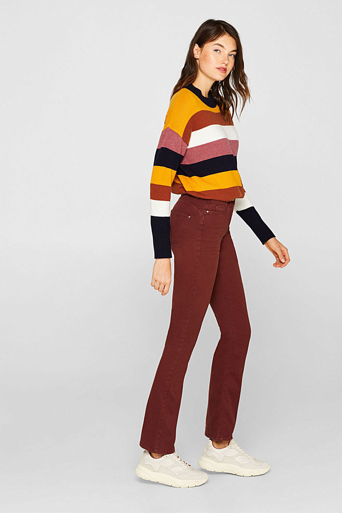 Super stretch trousers with a boot cut, RUST BROWN, detail image number 1