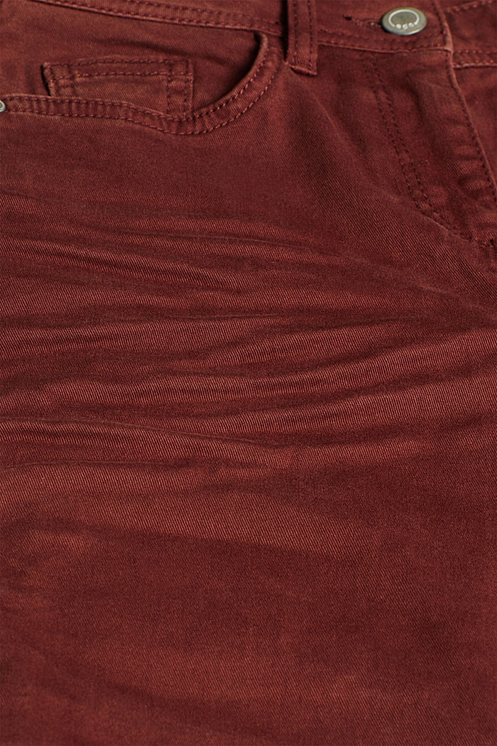 Super stretch trousers with a boot cut, RUST BROWN, detail image number 4