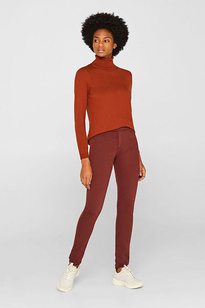 Stretch treggings with whiskered effects, RUST BROWN, detail image number 0