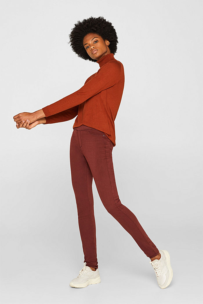 Stretch treggings with whiskered effects, RUST BROWN, detail image number 1