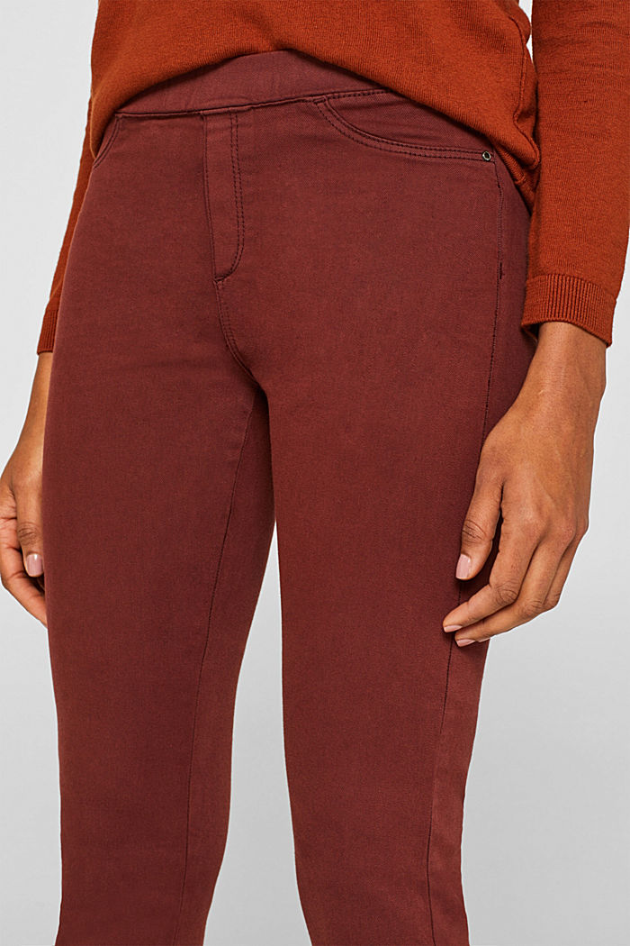 Stretch treggings with whiskered effects, RUST BROWN, detail image number 2
