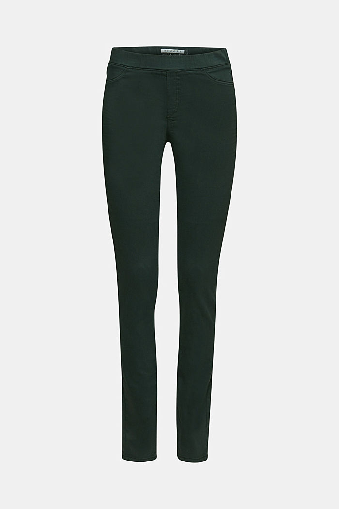 Stretch treggings with whiskered effects, DARK TEAL GREEN, detail image number 7